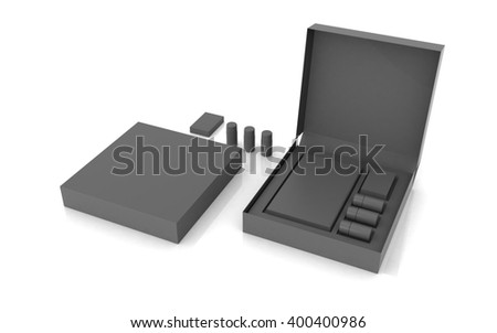3D rendered box package on white background - stock photo