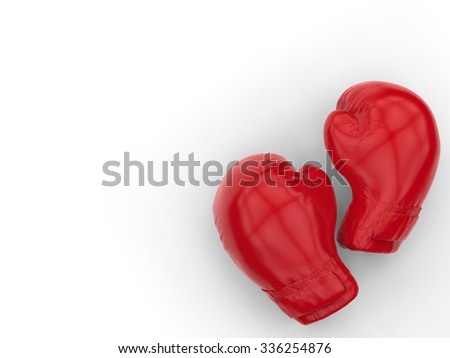 3d rendered boxing gloves on white background - stock photo