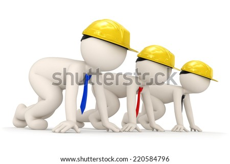 3d rendered builder business men starting a competition for success - stock photo