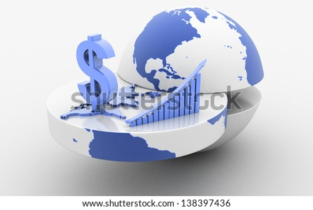 3d rendered business graph with earth and dollar - stock photo