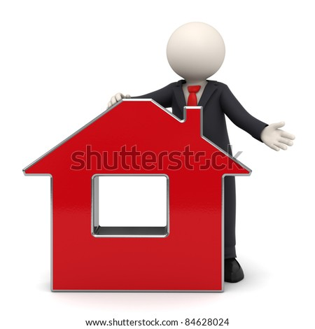 3d rendered business man in a black suit presenting a red virtual house - Isolated with soft shadows - stock photo