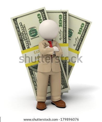 3d rendered business man in beige suit standing in front of one hundred dollar packs - stock photo