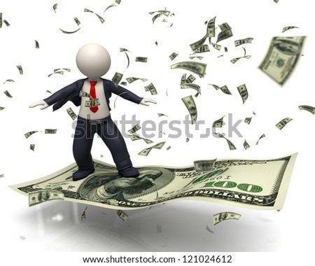 3d rendered business man just got rich and he is flying or surfing on an one hundred US dollar banknote in a money rain - business supreme success concept - stock photo