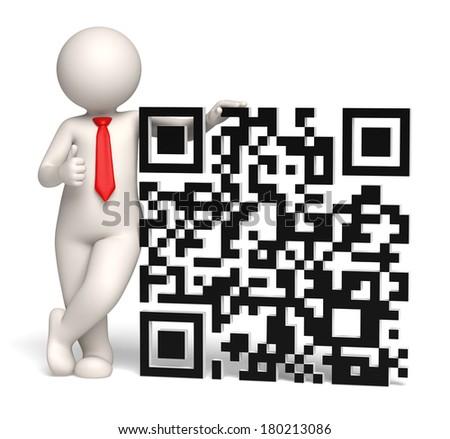 3d rendered business man showing thumbs up near a big 3d matrix barcode aka QR code - stock photo