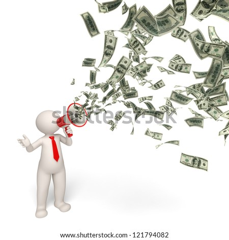 3d rendered business man speaking through a money megaphone - business motivation concept - stock photo