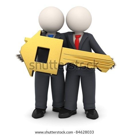 3d rendered business partners in black suit holding a gold house key in their hands - Isolated - stock photo
