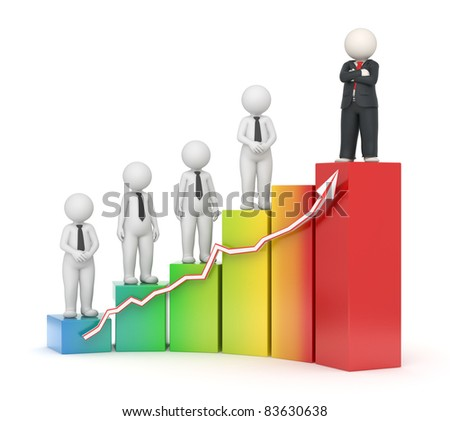 3d rendered business people on growing financial graph - Image on white background with soft shadows