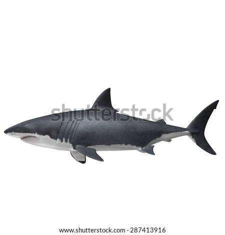 """3D Rendered Carcharodon Carcharias """"Great White Shark"""" - stock photo"""