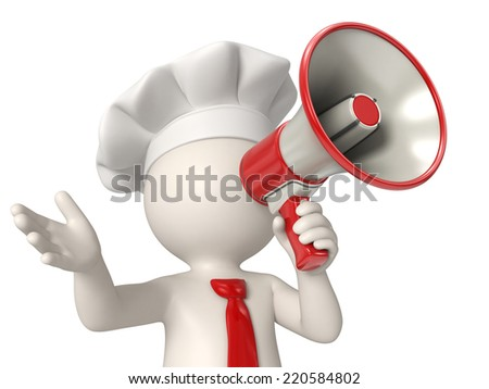 3d rendered chef speaking out in a red megaphone - stock photo