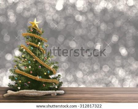 3d rendered christmas tree on glitter background