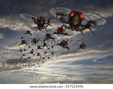 3d rendered cicada swarm, dramatic sky.