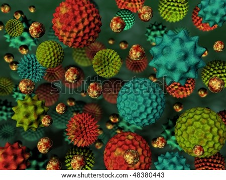 3d rendered colourful pollen background - stock photo