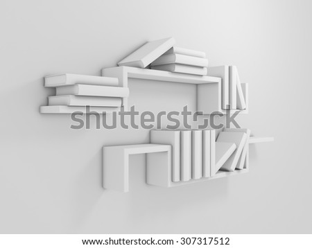 3d rendered composition with modern shelf and empty books. - stock photo