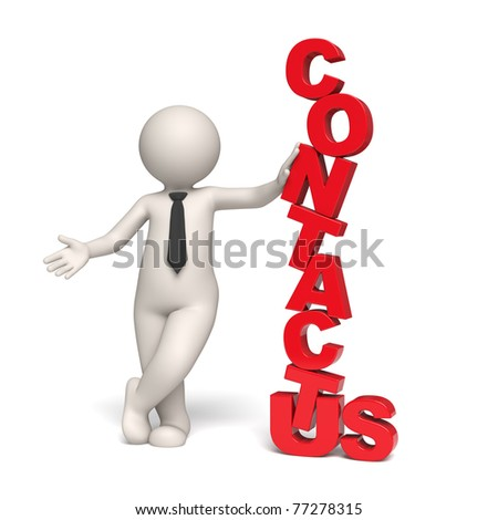 3d rendered contact us symbol with a 3d businessman - Isolated - stock photo