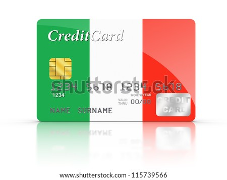 3D rendered Credit Card covered with  Italy flag.
