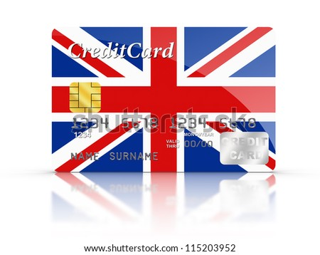 3D rendered Credit Card covered with UK flag.
