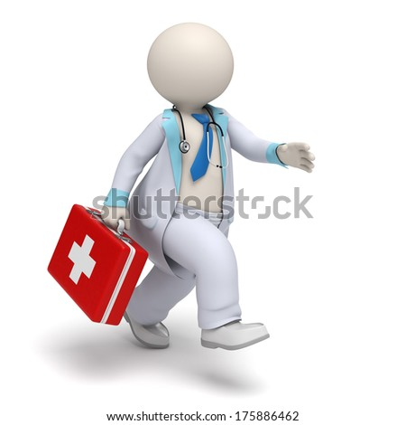 3d rendered doctor character running with a big first aid case - Emergency concept - stock photo