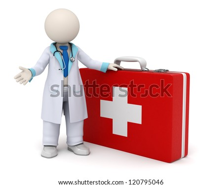 3d rendered doctor standing near a big red first aid case with cross - stock photo