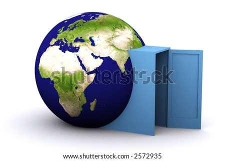3d rendered earth with a door through it