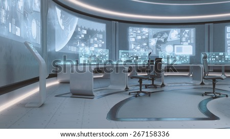 3D Rendered Empty Modern Futuristic Command Center Interior