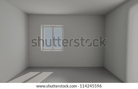 3d rendered empty room with window
