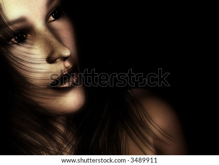 3D rendered face of young woman