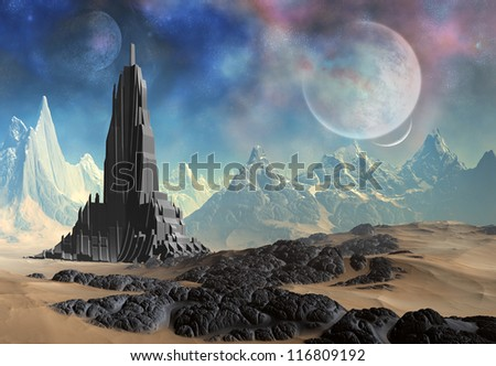 3D Rendered Fantasy Alien Planet With Building - stock photo