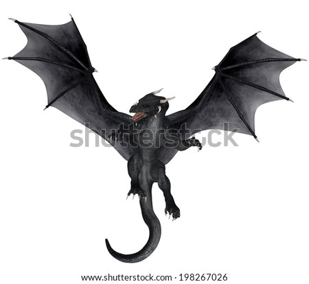 3D rendered fantasy dragon on white background isolated - stock photo