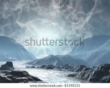 3D rendered fantasy landscape with lightning and sun - stock photo