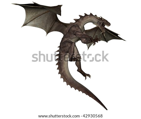 3D rendered flying dragon isolated on white background - stock photo