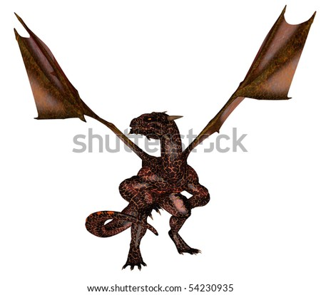 3D rendered flying fire dragon isolated on white background