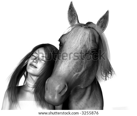 3D rendered girl with her horse