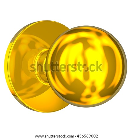 3D Rendered gleaming gold door knob ideal for an icon or clip art. Isolated on a white background.