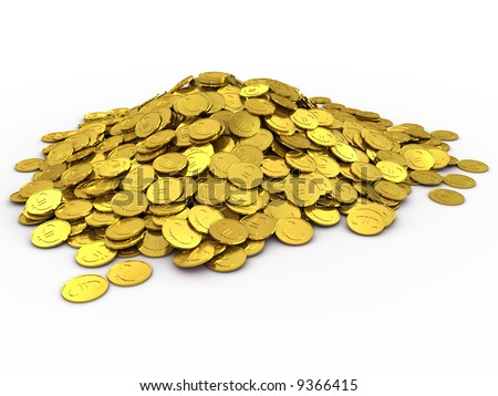3d rendered gold coins isolated on white - stock photo