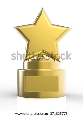 3 D Rendered Gold Star Trophy Stock Illustration 371835778