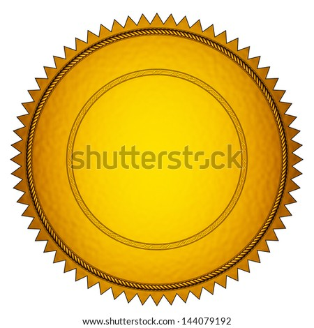 3D rendered golden seal on white background. - stock photo
