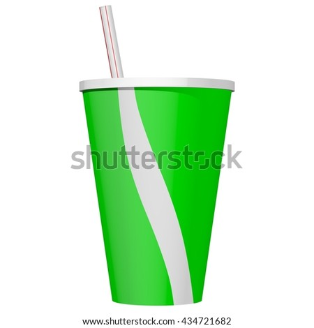 3D Rendered green soda cup with straw isolated on white. Ideal for use as clip art or an icon image.