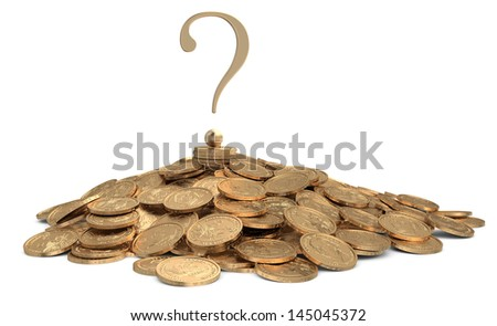 3d rendered heap of coins with sign of question - stock photo