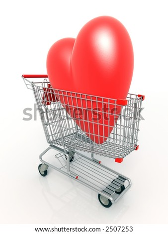 3D rendered heart in a shopping cart - stock photo
