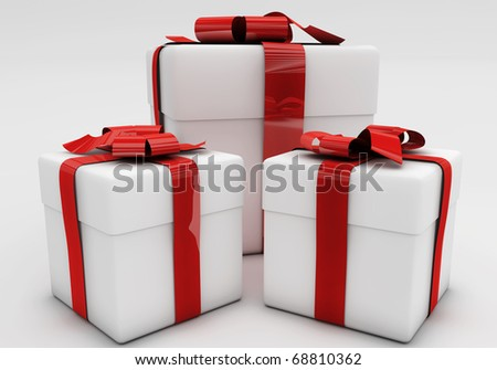 3d rendered holiday gifts. Celebrations concepts. - stock photo