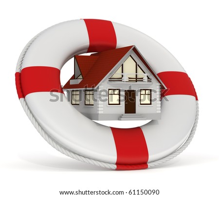 3d rendered house and lifebuoy concept as house insurance - Isolated - stock photo