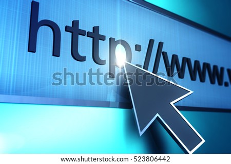 3D rendered http address detail with light glow next to cursor.