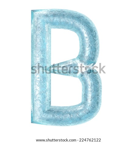 3d rendered ice alphabet letter B