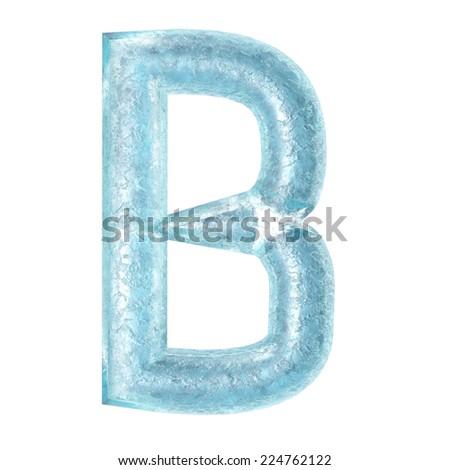 3d rendered ice alphabet letter B - stock photo