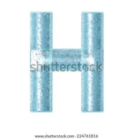 3d rendered ice alphabet letter H - stock photo