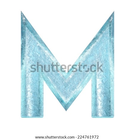 3d rendered ice alphabet letter M - stock photo