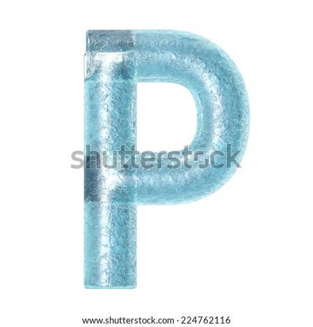 3d rendered ice alphabet letter P