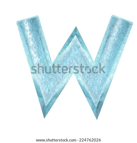 3d rendered ice alphabet letter W - stock photo