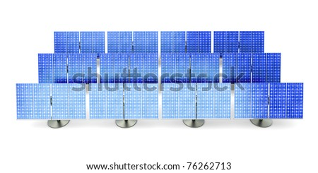 3D rendered Illustration. A line of solar panels, isolated on white. - stock photo