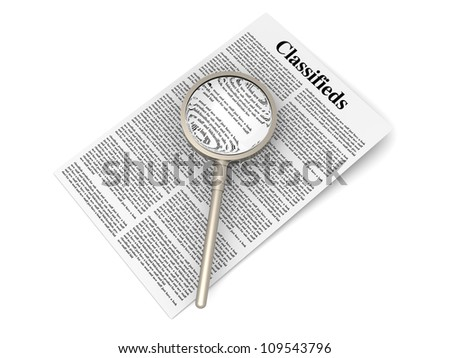3D rendered Illustration. A sheet of classifieds. Isolated on white.